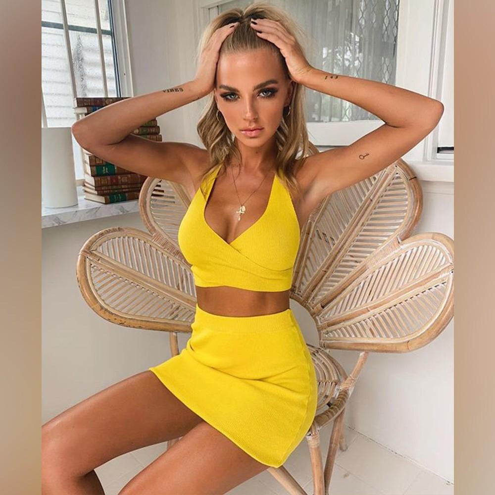 'Maska' Yellow Mini Bandage Two Piece Dress - Shop Secret Showroom