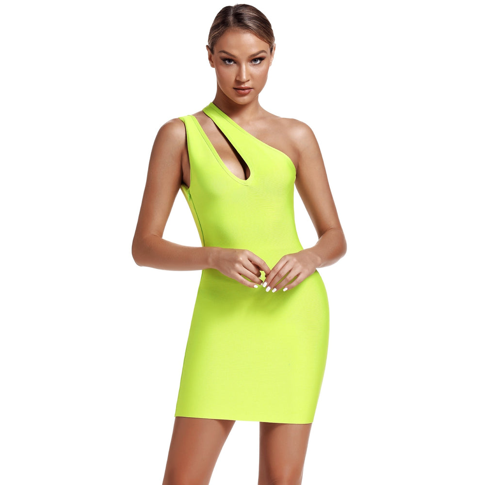 'Niaz' Neon Green Cut Out Mini Bandage Dress