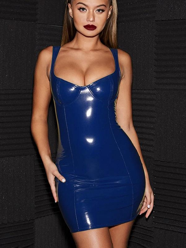 'Kaelyn' Blue Vinyl Latex Dress - Shop Secret Showroom