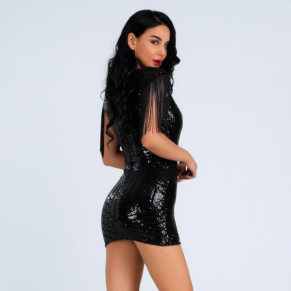 'Let me Love You ' Silver Deep V Mini Bandage Dress - Shop Secret Showroom