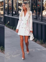 'Posy' White Sequined Blazer Mini Dress