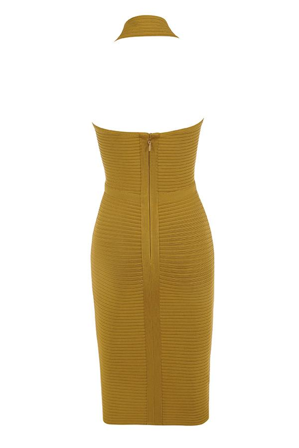 'Magdalina' Mustard Rib Bandage Halter Dress - Shop Secret Showroom