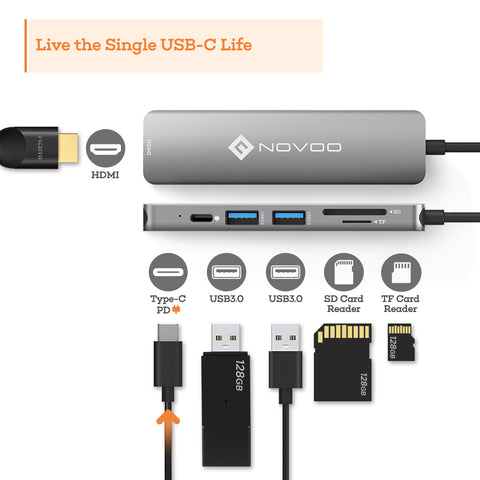 USB C Hub MacBook Pro NOVOO Type C Adapter USB C Dongle, 6 in 1 USB C to HDMI Multiport Adapter