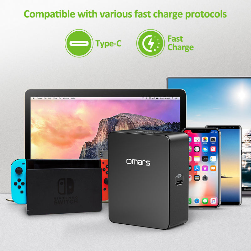 USB C Wall Charger Omars 45W Type-C Power Delivery Fast Charger Adapter with Foldable Plug for MacBook, Nintendo Switch, iPhone X 8 8P iPad,Pixel C, Samsung S8/S9, Notebook ,USB C laptops and computer
