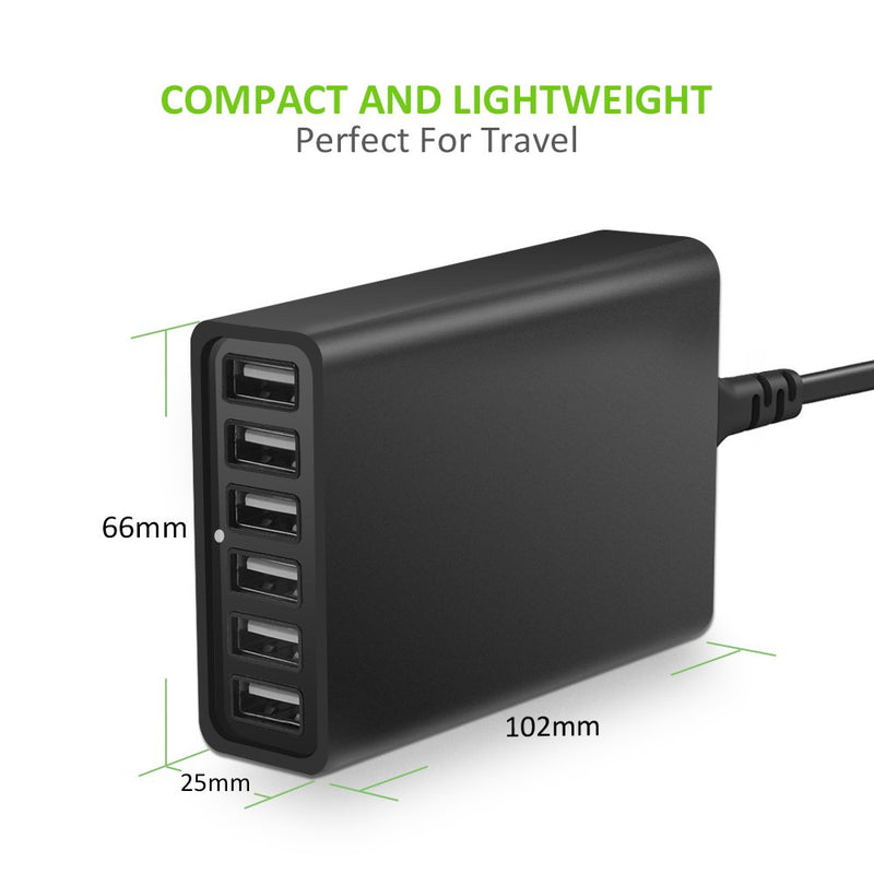 USB Charger, Omars 60W 6-Port USB Wall Charger, USB Desktop Charger Charging Station Compatible with Galaxy S8/S7/S6/Edge, Note 5 and iPhone x/8/8 Plus/7/6s/Plus, iPad, LG, Nexus 6, HTC