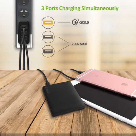 Quick Charge 3.0 Wall Charger, Omars 30W 3-Port USB Power Adapter