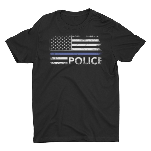 Men's Police Thin Blue Line Flag T shirt