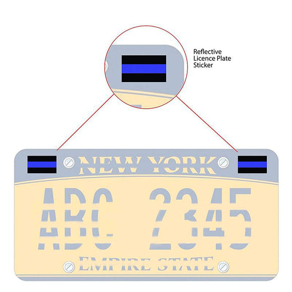Reflective Thin Blue Line Decals  License Plate Stickers For Cars,Trucks and motorcycles