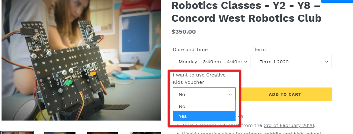 Thinklum accepts Creative Kids Voucher for attending Robotics Classes for kids and teens