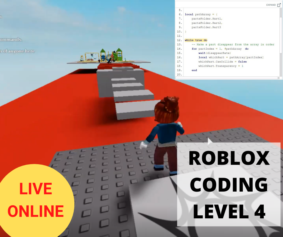 Online Roblox Coding LEVEL 4 - Term 1 2021 - Online Coding Class for Kids - School Grades Y3-Y7