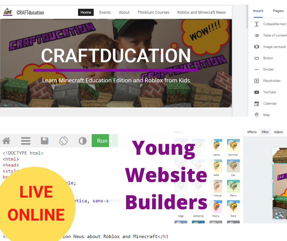 Young Website Builders – Online Website Creation and Coding Course for Kids – Level 1