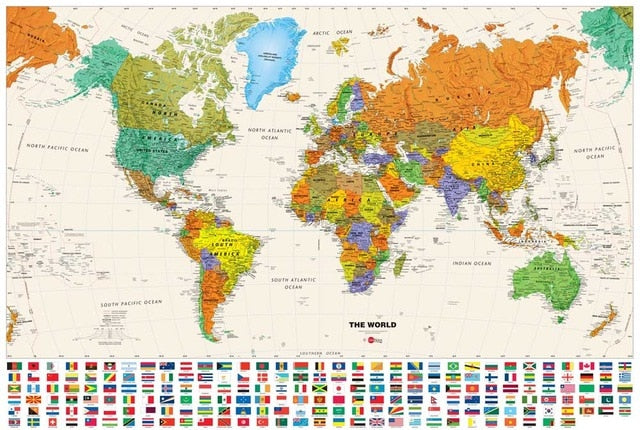 World Map Wall Poster