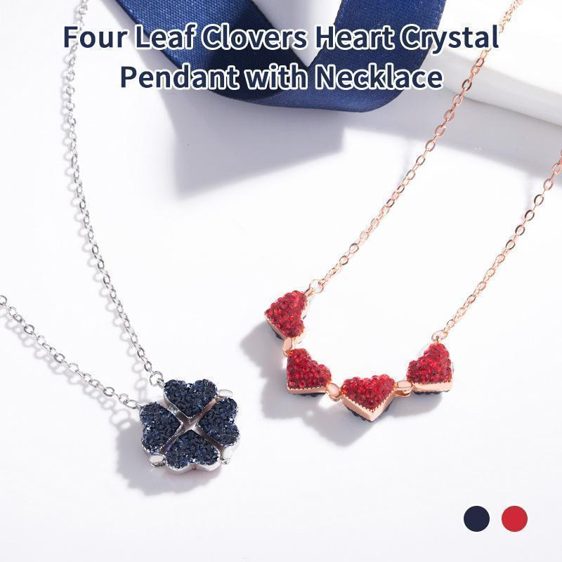 Four Leaf Clovers Heart Crystal Pendant with Necklace
