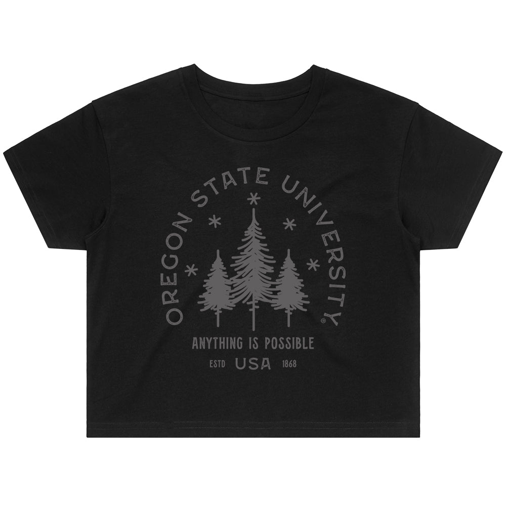 Oregon State Typography Crop Tee