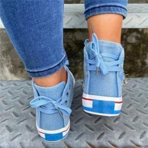 Denim High-Top Back Lace-p Design Canvas Sneakers Shoes