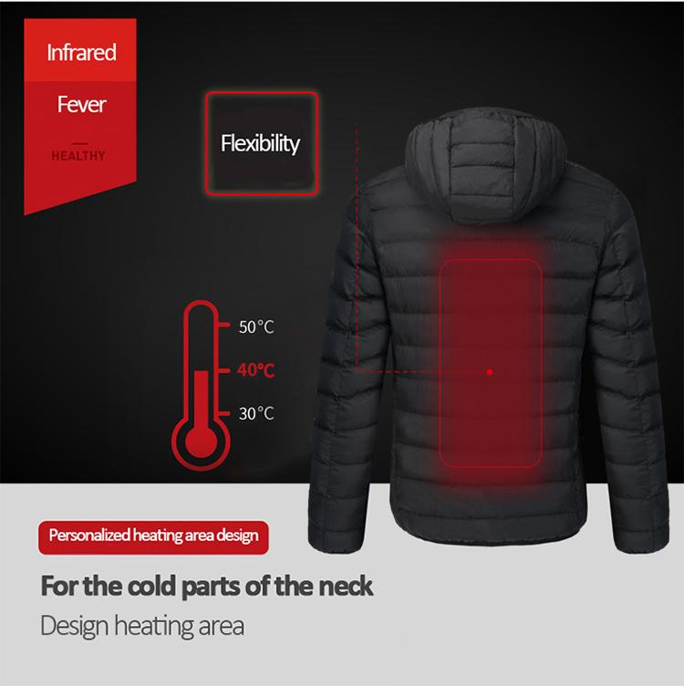 Men Women Outdoor Feather Down Cotton Electric Heating Jackets