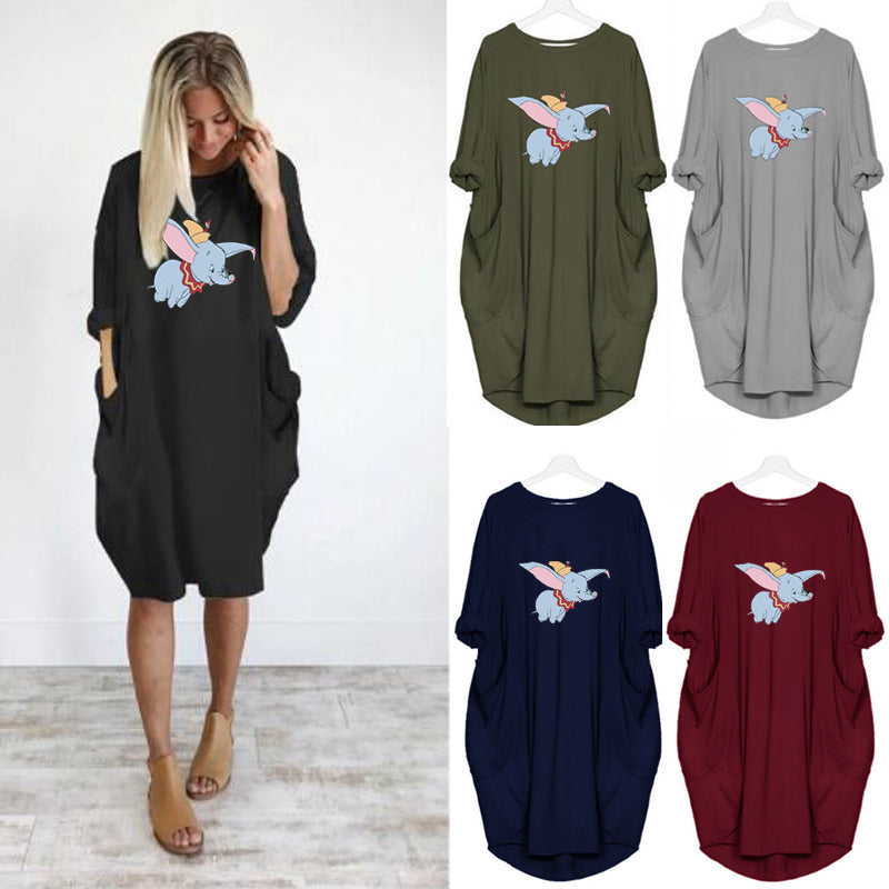 Flying Elephant Pocket Casual Dress