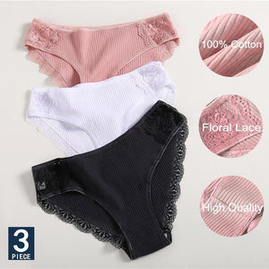 About 8.33/each! Cotton Lace Women's Panties-3PCS/Set - buy 2 sets get 10% extra off(code:10OFF)