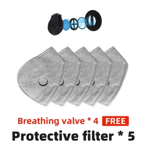 WASHABLE CARBON FILTER VALVE MASK AND REPLACEMENT FILTER
