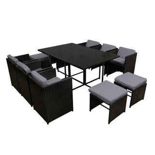 11 Piece PE Wicker Outdoor Dining Set - Black - Retail Discount Store