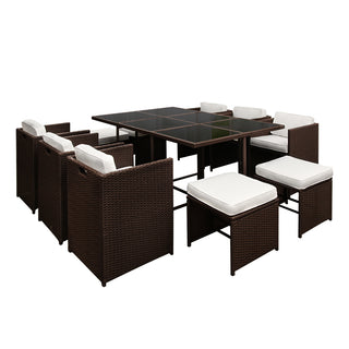 Capetown Dining 10 Seater Set – Brown & White - Retail Discount Store