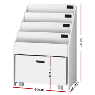 Kids Bookcase Childrens Bookshelf Organiser Storage Shelf Wooden White - Retail Discount Store