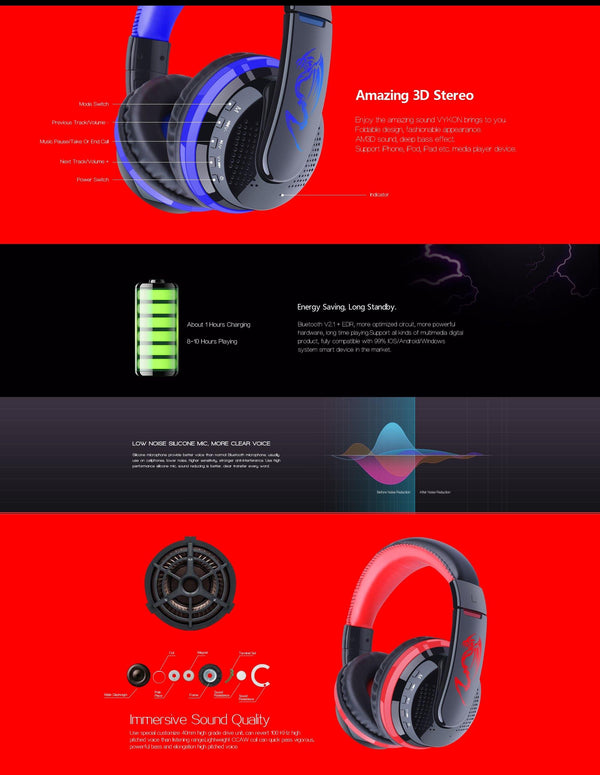 Ovleng Mx666 Wireless Bluetooth Music Headphones With Mic Noise Canceling - Red - Retail Discount Store