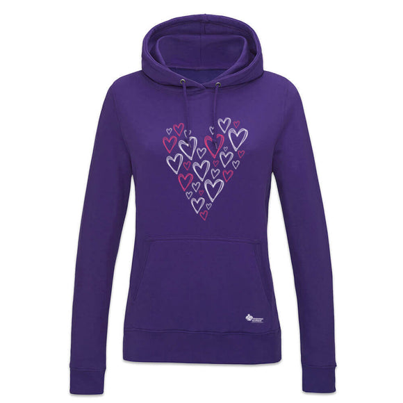 womens heart of hearts hoodie alzheimer scotland