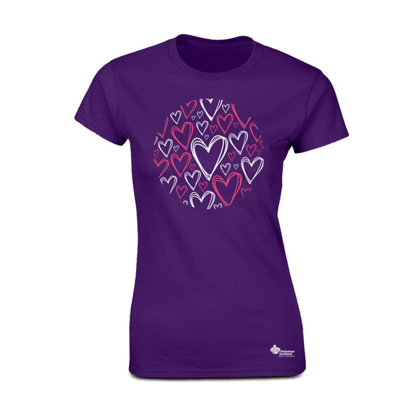 heart pattern womens fitted t-shirt alzheimer scotland