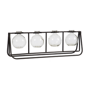 Glass Vases with Metal Rack