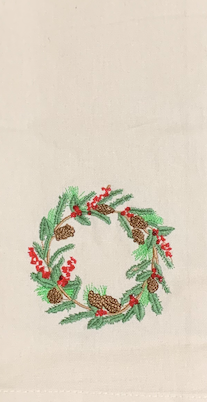 Embroidered Christmas Wreath Kitchen Towel