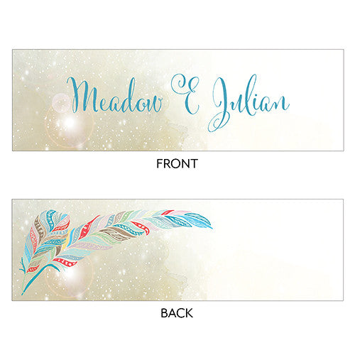 FEATHER WHIMSY SMALL RECTANGULAR FAVOUR TAG - AyaZay Wedding Shoppe