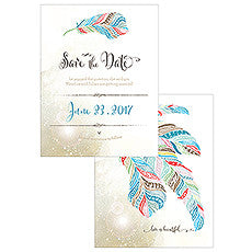 FEATHER WHIMSY SAVE THE DATE CARD - AyaZay Wedding Shoppe