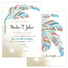 FEATHER WHIMSY INVITATION - AyaZay Wedding Shoppe