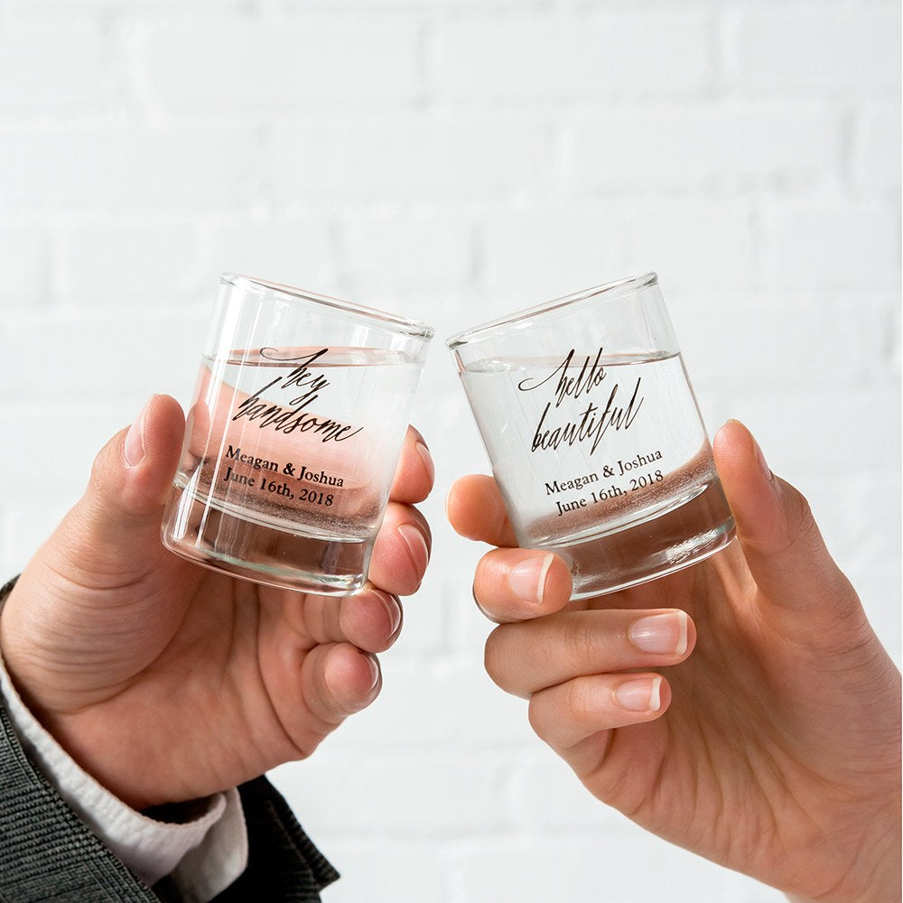 CUSTOM PRINTED CLEAR SHOT GLASS FAVOUR