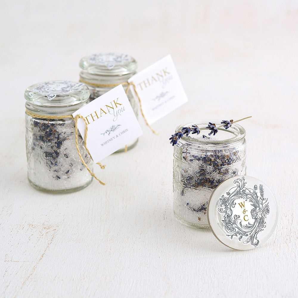 FLORAL PRESSED GLASS MASON JAR WITH STOPPER (6/PKG)