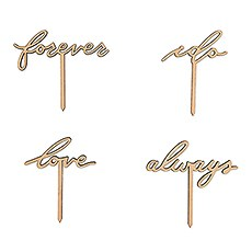 NATURAL WOOD CUPCAKE TOPPER PICKS - LOVE COLLECTION - SET OF 12