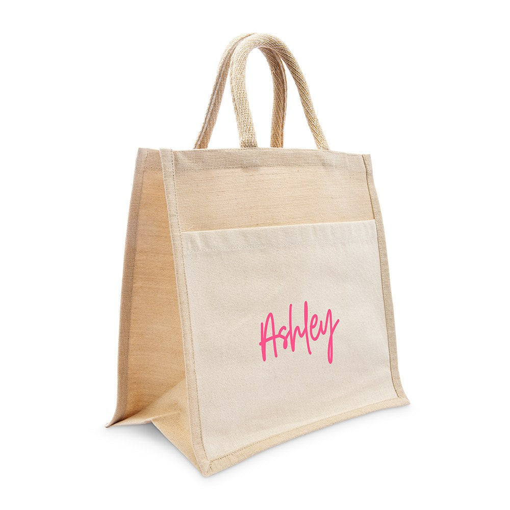 PERSONALIZED WOVEN JUTE MEDIUM TOTE BAG WITH POCKET -  SCRIPT FONT