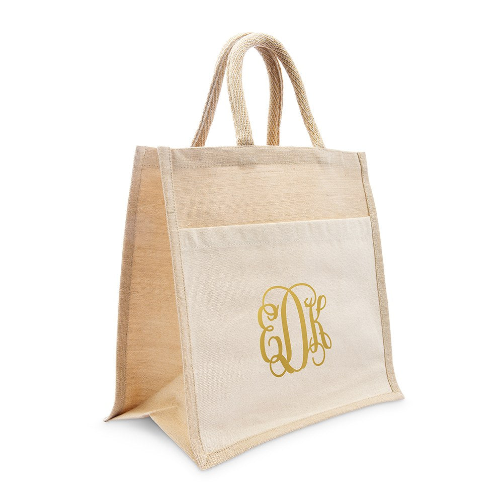 PERSONALIZED WOVEN JUTE MEDIUM TOTE BAG WITH POCKET -  SCRIPT MONOGRAM