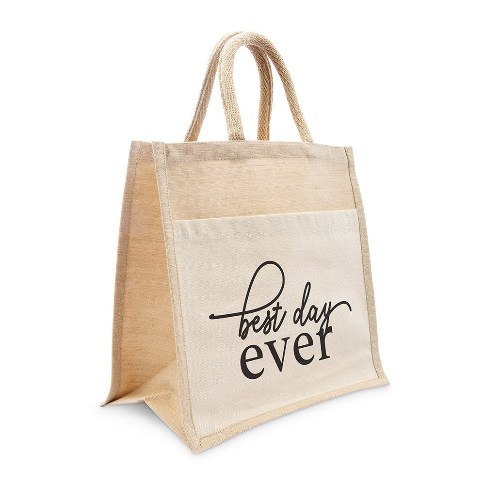 MEDIUM REUSABLE WOVEN JUTE TOTE BAG WITH POCKET - BEST DAY EVER