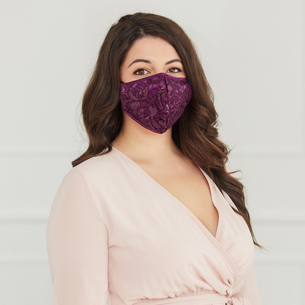 LUXURY REUSABLE, WASHABLE CLOTH FACE MASK WITH FILTER POCKET - PURPLE GARNET