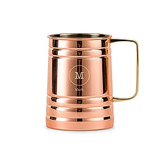 PERSONALIZED COPPER MOSCOW MULE DRINK STEIN - CIRCLE MONOGRAM ENGRAVING