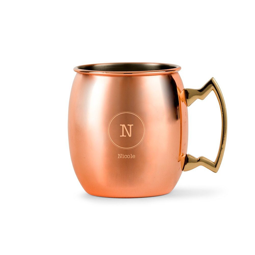 PERSONALIZED COPPER MOSCOW MULE DRINK MUG - CIRCLE MONOGRAM ETCHING