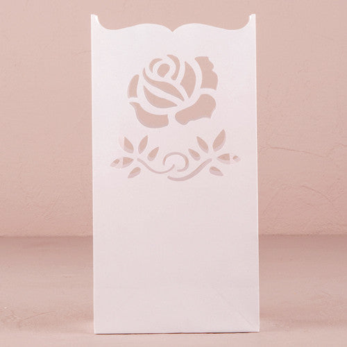 """Light The Way"" LUMINARY BAGS WITH DIE CUT ROSE PATTERN (12/pkg) - AyaZay Wedding Shoppe"