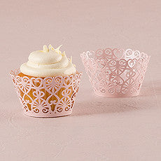 LACE HEARTS FILIGREE PAPER CUPCAKE WRAPPERS (12/pkg) - AyaZay Wedding Shoppe