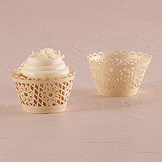 FLORAL ART DECO FILIGREE PAPER CUPCAKE WRAPPERS (12/pkg) - AyaZay Wedding Shoppe