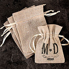 MINI LINEN DRAWSTRING POUCH - PLAIN (12/pkg) - AyaZay Wedding Shoppe