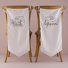 FEATHER WHIMSY BRIDE AND GROOM CHAIR BANNER SET - AyaZay Wedding Shoppe