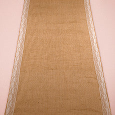 BURLAP AISLE RUNNER WITH DELICATE LACE BORDER - AyaZay Wedding Shoppe