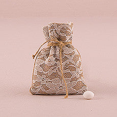 RUSTIC CHIC BURLAP AND LACE DRAWSTRING FAVOUR BAG (12/pkg) - AyaZay Wedding Shoppe